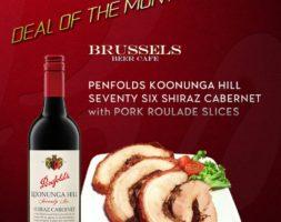 Penfolds Koonunga Hill Seventy Six Shiraz Cabernet with Pork Roulade Slices